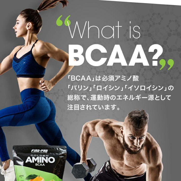 ファインプロ GOLDEN AMINO BCAA 55杯分 「BCAA」は必須アミノ酸「バリン」「ロイシン」「イソロイシン」の総称で、運動時のエネルギー源として注目されています