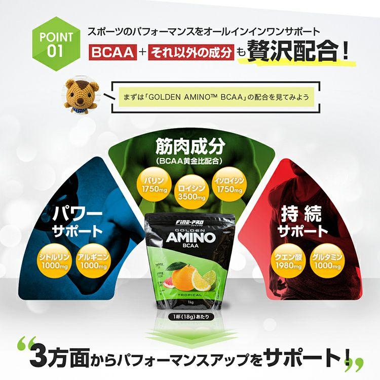 ファインプロ GOLDEN AMINO BCAA 55杯分 ポイント1: BCAAもそれ以外の成分も贅沢配合!