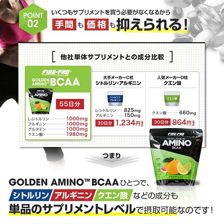ファインプロ GOLDEN AMINO BCAA 55杯分 ポイント2: いくつもサプリメントを買う必要がなくなるから、手間も価格も抑えられる!