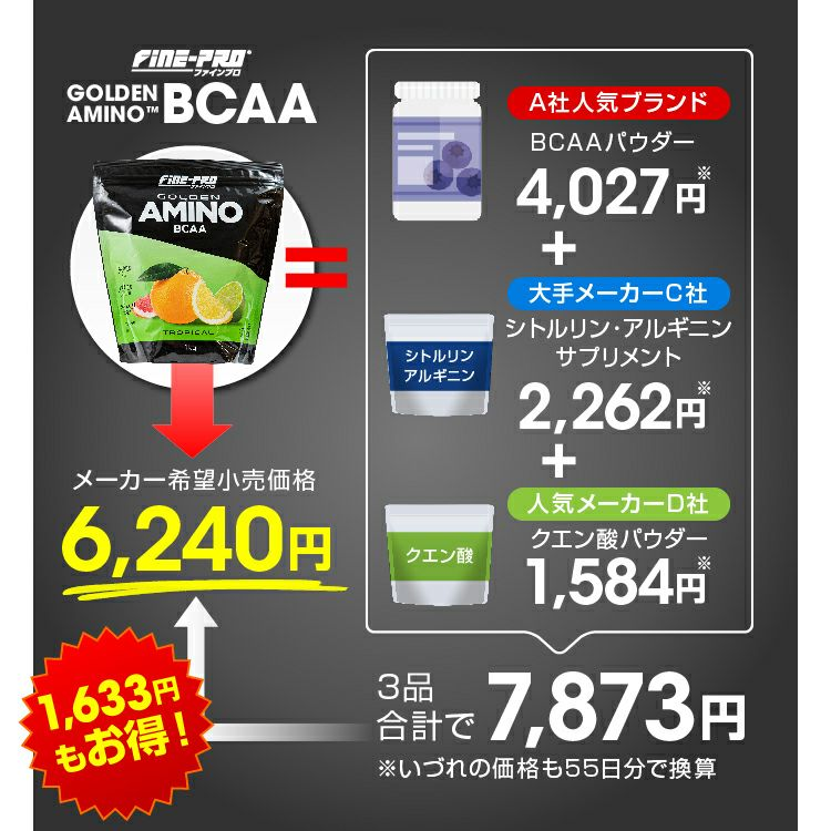 ファインプロ GOLDEN AMINO BCAA 55杯分 メーカー希望小売価格6240円