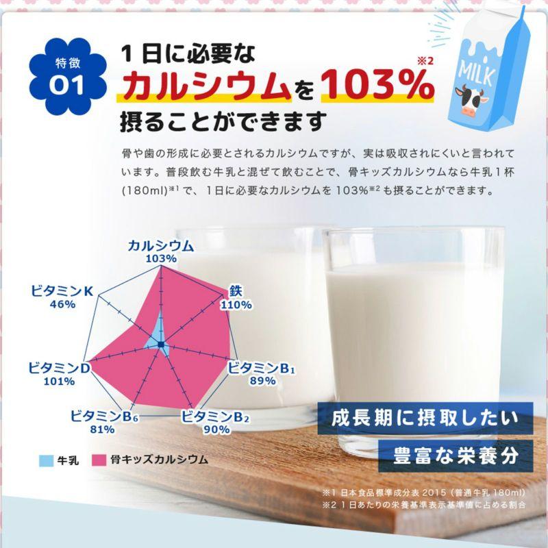 骨キッズカルシウム ミルキー風味  1日に必要なカルシウムを103%摂ることができます